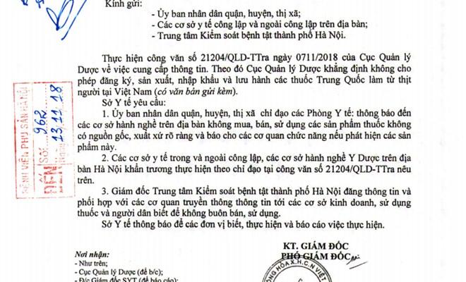 Công văn của Sở Y tế về việc khẳng định không cho phép đăng ký, sản xuất, nhập khẩu và lưu hành thuốc làm từ thịt người tại Việt Nam
